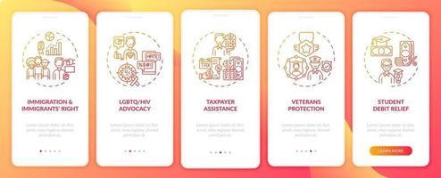 tipi di servizi legali onboarding schermata della pagina dell'app mobile con concetti vettore