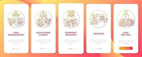 categorie di servizi legali onboarding schermata della pagina dell'app mobile con concetti vettore