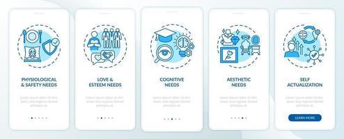 l'essere umano ha bisogno della schermata della pagina dell'app mobile di onboarding blu con concetti vettore