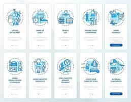 Suggerimenti per lo sviluppo personale Schermata della pagina dell'app mobile di onboarding blu con set di concetti vettore