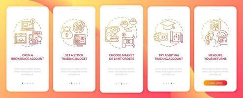 passaggi di trading nella schermata della pagina dell'app mobile con concetti vettore