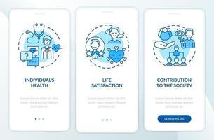 effetti positivi sullo sviluppo degli adulti Schermata della pagina dell'app mobile di onboarding blu con concetti vettore