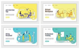 headhunting landing page flat silhouette template vector set