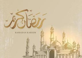 biglietto di auguri di ramadan kareem con grande moschea vettore