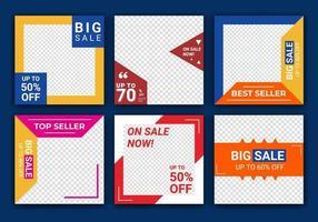 mega vendita social media post design template vector set, sfondi con copyspace. modello di banner di vendita di moda per post sui social media. grande vendita, vendita flash e concetto di campagna pubblicitaria super vendita