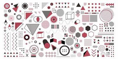 oggetto impostato di geometria astratta in colore rosa. un pacchetto di 100 arti del disegno geometrico. design di memphis, elementi retrò per web, vintage, pubblicità, banner commerciale, poster, depliant, cartellone, vendita vettore