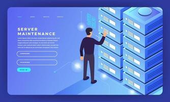 mock-up design sito web design piatto concetto server che ospita informazioni. illustrazione vettoriale. vettore