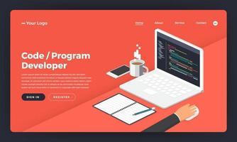 sviluppatore di programmazione e codifica del concetto di design piatto del sito web di progettazione di modelli illustrazione vettoriale. vettore
