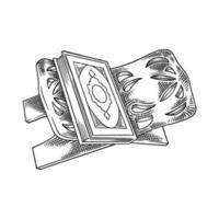 vettore musulmano al-corano. schizzo disegnato a mano del libro sacro Corano su un supporto di legno con design islamico. ramadan kareem, eid mubarak isolato su sfondo bianco. illustrazione di calligrafia araba