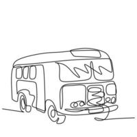un disegno a tratteggio di autobus in città. un trasporto pubblico urbano isolato su sfondo bianco. trasporto di passeggeri concetto continuo schizzo disegnato a mano singola lineart, stile minimalista vettore