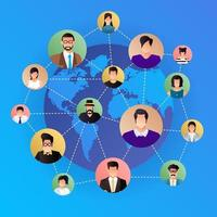 rete sociale di concetto di design piatto. persone che si connettono in tutto il mondo con l'icona di linea e avatar. vettore illustrano.