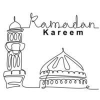moschea linea continua disegno vettoriale design minimalista. felice eid mubarak, tema ramadan kareem. celebrazione tradizionale festa islamica, religione araba e illustrazione di schizzo di cultura
