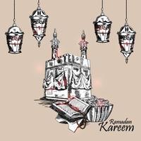 cartolina d & # 39; auguri dell & # 39; invito di tiraggio della mano del ramadan con la tazza e la lanterna creative vettore