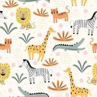 seamless con simpatici animali selvatici infantili. zoo di animali con leone, zebra, coccodrillo, gatto e giraffa. adatto per la progettazione di tessuti per bambini, carta da imballaggio, sfondo. personaggi animali per bambini. vettore