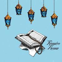 mano disegnare elemento di ramadan mubarak con libro sacro islamico corano vettore