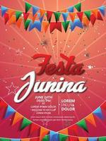 biglietti d'invito festa junina con chitarra e lanterna di carta su sfondo bianco vettore