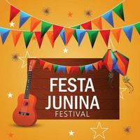illustrazione vettoriale festa junina con chitarra, bandiera colorata festa e lanterna di carta