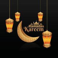 festival islamico creativo di ramadan kareem con libro sacro kuran e lanterna araba vettore