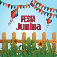 sfondo evento festa junina con illustrazione creativa vettore