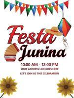 poster di celebrazione festa junina con illustrazione creativa vettore