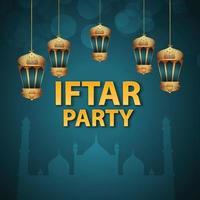 sfondo di invito a una festa iftar con lanterna araba dorata vettore
