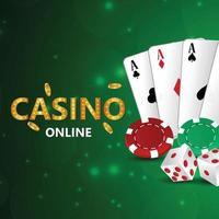gioco d'azzardo casinò con illustrazione creativa fiches del casinò e carte da gioco vettore