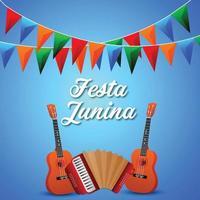 illustrazione creativa di festa junina con chitarra e bandiera colorata di festa vettore
