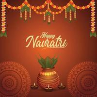 shubh navratri celebrazione biglietto di auguri e sfondo con kalash dorato vettore