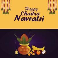 kalash creativo per lo sfondo del festival indiano di shubh navratri vettore