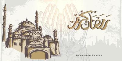 biglietto di auguri di ramadan kareem con schizzo a mano che prega a mano, moschea dorata e calligrafia araba significa agrifoglio ramadan. disegno elegante schizzo disegnato a mano isolato su priorità bassa bianca. vettore