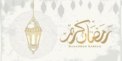 biglietto di auguri di ramadan kareem con lanterne appese e calligrafia araba significa agrifoglio ramadan. stile disegnato a mano di schizzo isolato su priorità bassa bianca. vettore