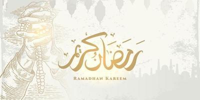 biglietto di auguri di ramadan kareem con grande moschea, schizzo di preghiera a mano e calligrafia araba significa agrifoglio ramadan. disegno elegante schizzo disegnato a mano isolato su priorità bassa bianca. vettore