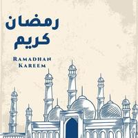 biglietto di auguri di ramadan kareem con schizzo blu grande moschea. calligrafia araba significa agrifoglio ramadan. isolato su sfondo bianco. vettore