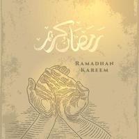 biglietto di auguri di ramadan kareem con schizzo a mano in preghiera e calligrafia araba significa agrifoglio ramadan. vettore