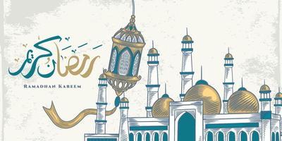 biglietto di auguri di ramadan kareem con grande moschea blu, grande lanterna e calligrafia araba significa agrifoglio ramadan. disegno elegante schizzo disegnato a mano. vettore