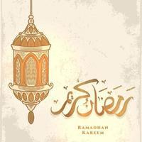 biglietto di auguri di ramadan kareem con lanterna dorata e calligrafia araba significa agrifoglio ramadan. disegnato a mano dell'annata isolato su priorità bassa bianca. vettore