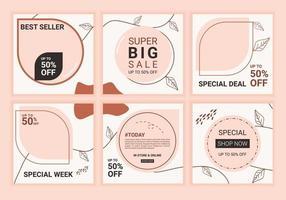 modello di feed infinito per social media con colore pastello rosa. set di griglia puzzle modificabile per account aziendale o personale. una serie di layout vettoriali personalizzabili su sfondo di colore tenue.