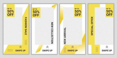 impostare la raccolta di banner di social media modello di post modificabili per il marketing digitale. sconto modello promozionale design. prezzo speciale per il nuovo prodotto di arrivo. illustrazione di sfondo vettoriale