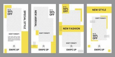 banner bundle kit set di storie sui social media per lo shopping in linea. grande vendita di moda. progettazione del layout per il marketing sui social media. vettore promozionale marchio fashion design sfondi illustrazione