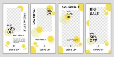 modelli di post sui social media modificabili, raccolte di storie sui social media e post frame. progetti di layout per promozioni di marketing, copertine, banner, sfondi, quadrati alla moda. vendita di moda vettoriale