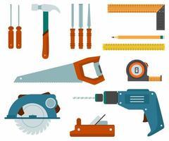 set di icone di strumenti di lavoro di riparazione e costruzione. attrezzature da falegnameria come martello, misuratore di rulli, sega manuale, scalpello, righello, matita, trapano a mano, motosega, cacciavite, aereo da falegname ecc. vettore piatto