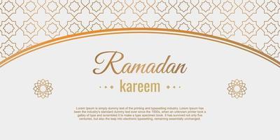 ramadan kareem con banner design floreale islamico. celebrazione delle vacanze musulmane. felice eid mubarak. ornamento arabesco tradizionale isolato su priorità bassa bianca. illustrazione vettoriale di cartone animato piatto.