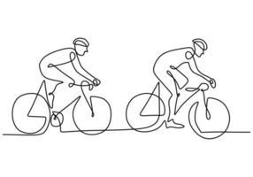 un disegno a tratteggio continuo della corsa ciclista giovane uomo energico in pista ciclabile. concetto di ciclista da corsa. disegno a mano disegnare per lo stile minimalista banner torneo di ciclismo. illustrazione vettoriale