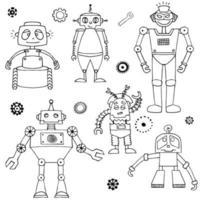set di robot di schizzo. stampa per tessuti e idee di design. vettore
