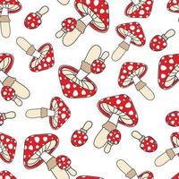 funghi velenosi rossi su sfondo bianco. modello senza cuciture per elemento di design, tessuto, carta da imballaggio. vettore