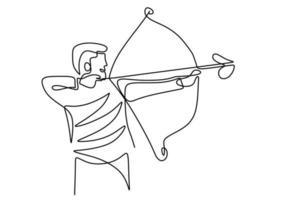 disegno linea continua di giovane arciere professionista, in piedi e concentrarsi per sparare al bersaglio. aggiornamento sano tiro con l'arco. tema di sport di tiro con l'arco isolato su priorità bassa bianca vettore