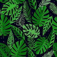 modello senza saldatura con foglie tropicali. sfondo per stampe, tessuti, sfondi, carta da imballaggio. vettore