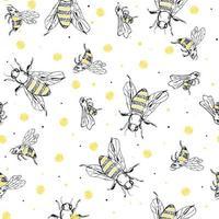 schizzo ape seamless pattern. sfondo nero e giallo con insetti. disegno disegnato a mano per il confezionamento, tessile o pacchetto di miele. vettore