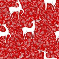 seamless per natale su uno sfondo rosso con elementi bianchi natale. bellissimo motivo per una lussuosa carta da regalo, t-shirt, biglietti di auguri 2021. vettore