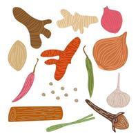 set di spezie ed erbe aromatiche. zenzero disegnato a mano, peperoncino, cipolla, cipolla rossa, aglio, chiodi di garofano, zafferano, citronella, curcuma. schizzo spezie vettore raccolta isolato su sfondo bianco